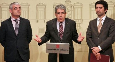 Homs, Puigneró i Martí en la compareixença font: Govern.cat